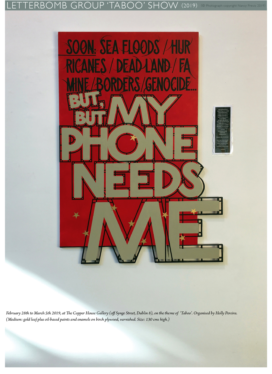 'Letterbomb.' A painting by Syd Bluett in the Taboo exhibition at the Copper House Gallery Dublin, March 19